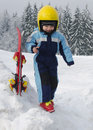 Child at skiing resort portrait of a cute happy skier boy or girl with yellow helmet in a winter ski Stock Images