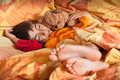 Child sleep in bed bare feet Royalty Free Stock Images