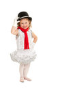 Child in snowman christmas dance costume happy toddler winter ballet recital Stock Photos