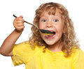 Child with sportsman appetite Stock Photo