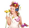 Child in spring hairstyle and butterfly. Royalty Free Stock Photography