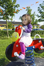 Child on Spring Motor Bike Stock Images
