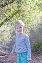 Child at spring time beautiful smiling boy enjoying during walk in the forest Royalty Free Stock Images
