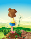 A child standing above the stump while sightseeing illustration of Stock Photography