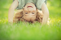 Child standing upside down Royalty Free Stock Photo