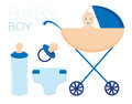 The child in the stroller. The boy is a newborn. He has a nipple, a bottle and a diaper. A set of illustrations.