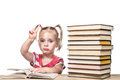 Child is studying the book Royalty Free Stock Photo