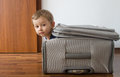 Child in suitcase funny all packed and ready to travel Stock Photos