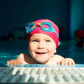 Child in a swimming pool Royalty Free Stock Images