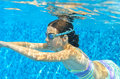 Child swims in pool underwater, girl in goggles has fun under water and makes bubbles Royalty Free Stock Photo