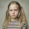 Child with tears young girl crying fine art portrait Royalty Free Stock Images