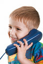 Child with telephone Royalty Free Stock Photo