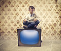 Child Television Stock Photo