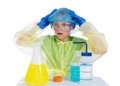 Child terrified of what he obtained as a result of chemical experiment isolated on white background Royalty Free Stock Image