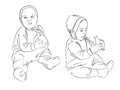Child with the toy sketch black and white vector illustration Royalty Free Stock Photography