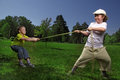 Child tug war outdoors Stock Image