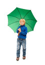 Child with umbrella little boy green Royalty Free Stock Photos