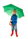Child with umbrella little boy green Royalty Free Stock Photo
