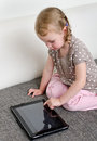 Child using tablet computer Royalty Free Stock Photo