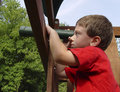 Child Using Telescope Stock Photo