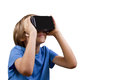 Child with Virtual Reality, VR cardboard glasses isolated on white