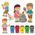The child waste separation for recycle eps file simple technique no gradients no effects no mesh no transparencies Stock Photography
