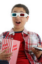 Child watching movie Stock Image