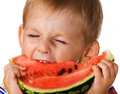 The child with a water-melon Stock Photo