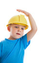 Child wearing hardhat Royalty Free Stock Photography
