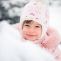 Child in winter park happy Royalty Free Stock Images