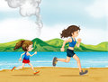 A child and a woman jogging Royalty Free Stock Photo