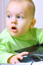 Child working at a computer Royalty Free Stock Photo