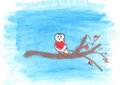 Child's drawing of bullfinch on the branch