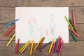 Child& x27;s drawing of a happy family Royalty Free Stock Photo