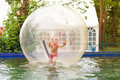Child in zorb a happy Stock Photos