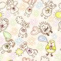 Childe drawing seamless pattern Royalty Free Stock Photo