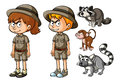 Childen in safari outfit with wild animals