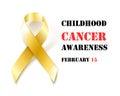 Childhood Cancer Awareness gold ribbon banner