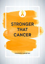 Childhood Cancer Awareness Poster. Yellow Brush Strokes and Frame Illustrate the Problem. Childhood cancer awareness symbol