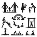 Childhood children play on playground pictogram icon set Stock Photo