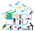 Childhood children play on playground pictogram icon set Stock Image