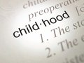 Childhood dictionary definition selective focus on the word Royalty Free Stock Image