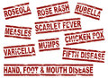 Childhood diseases set of grunge style ink stamp Stock Photography