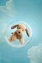 Childhood dreaming cute puppy toy floating in a soap bubble in the sky Royalty Free Stock Images