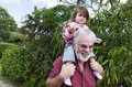 Childhood - Granddad and Grandchild Relationship Stock Images