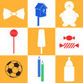 Childhood icon set isolated objects vector illustration eps Royalty Free Stock Photos