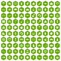 100 childhood icons hexagon green