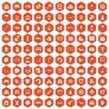 100 childhood icons hexagon orange