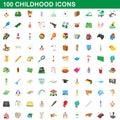 100 childhood icons set, cartoon style