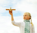 Childhood kid with airplane toy freedom concept fine art portrait Royalty Free Stock Photos